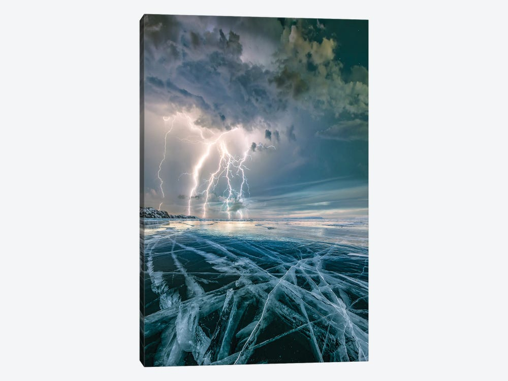 Ice Lightning by Brent Shavnore 1-piece Canvas Art Print