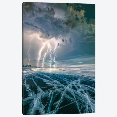Ice Lightning Canvas Print #BSV62} by Brent Shavnore Canvas Art