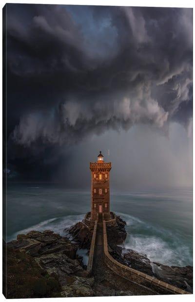 Lighthouse Downpour Canvas Art Print