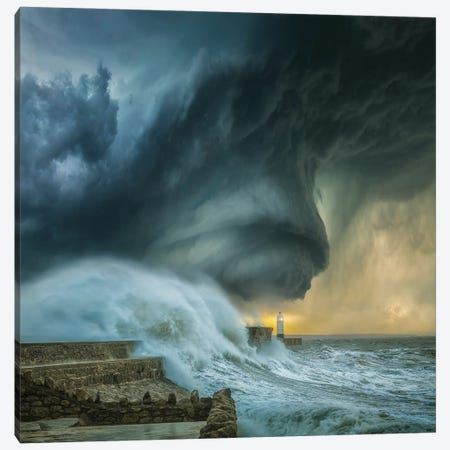 Lighthouse Swirl Canvas Print #BSV65} by Brent Shavnore Art Print