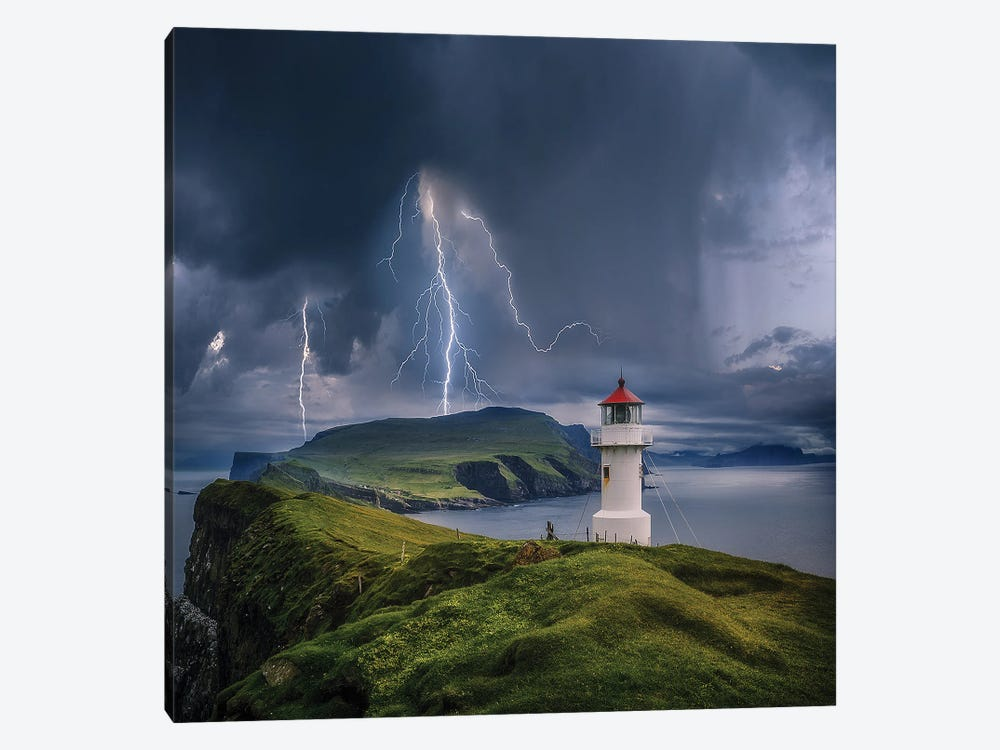 Lighthouse Cliff Chaos by Brent Shavnore 1-piece Canvas Art Print