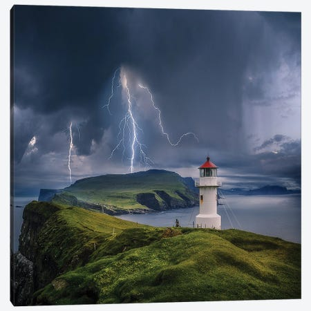 Lighthouse Cliff Chaos Canvas Print #BSV66} by Brent Shavnore Art Print