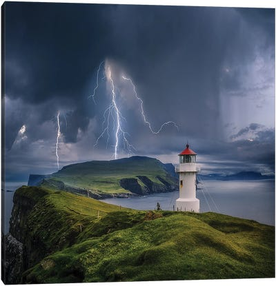 Lighthouse Cliff Chaos Canvas Art Print