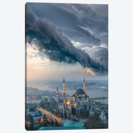 Istanbul Thunderstom Mosque Canvas Print #BSV84} by Brent Shavnore Art Print