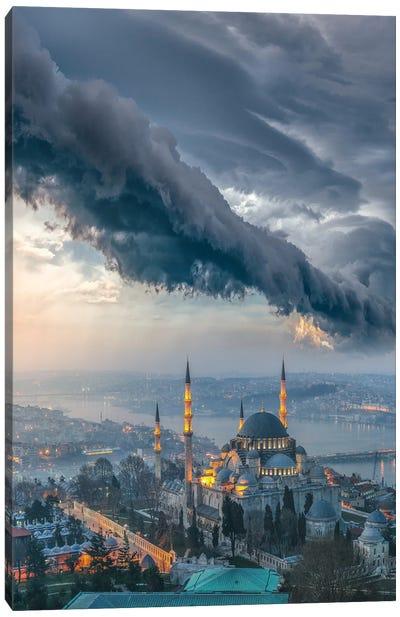Istanbul Thunderstom Mosque Canvas Art Print