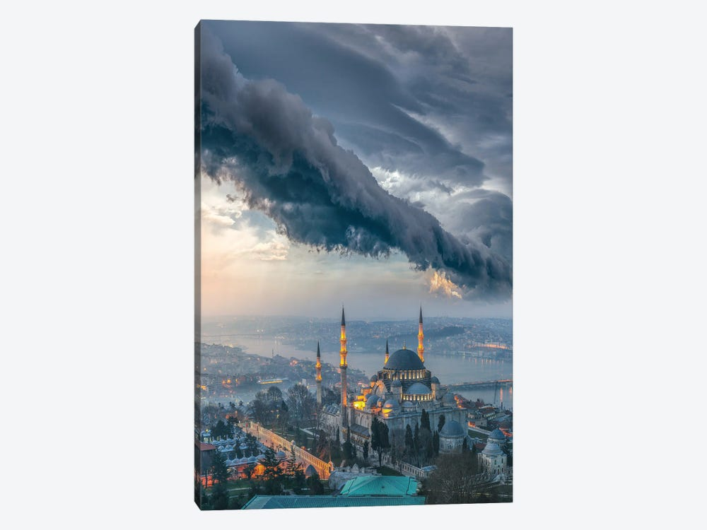Istanbul Thunderstom Mosque by Brent Shavnore 1-piece Art Print