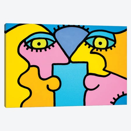Sunset Couple Canvas Print #BTA15} by Billy The Artist Canvas Artwork