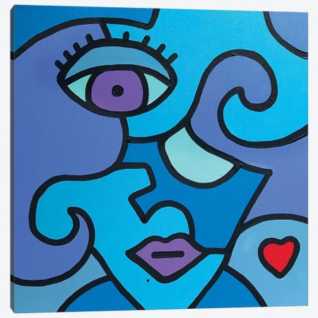 Blue Girl Canvas Print #BTA22} by Billy The Artist Canvas Artwork