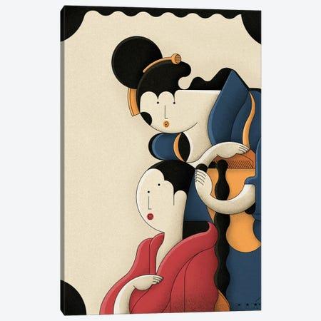 Girl Combing Hair Canvas Print #BTG43} by John Battalgazi Canvas Art