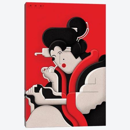 Edo Girl Applying Makeup Canvas Print #BTG54} by John Battalgazi Canvas Wall Art