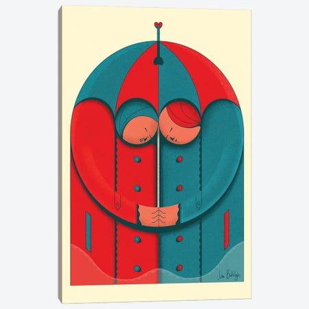 Couple In The Rain Canvas Print #BTG86} by John Battalgazi Canvas Art Print