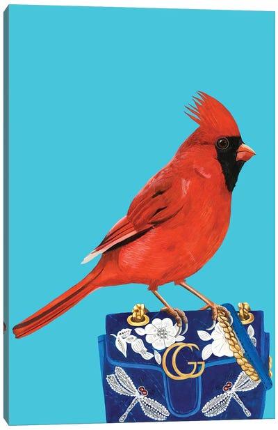 Red Cardinal Bird On Gucci Purse Canvas Art Print