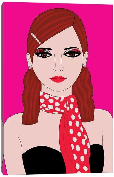 Woman With Polka Dot Scarf Canvas Art Print
