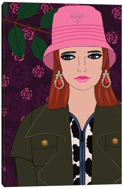 Woman With Pink Prada Hat Canvas Art Print
