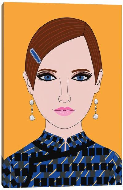 Woman In Prada Blue Dress Canvas Art Print