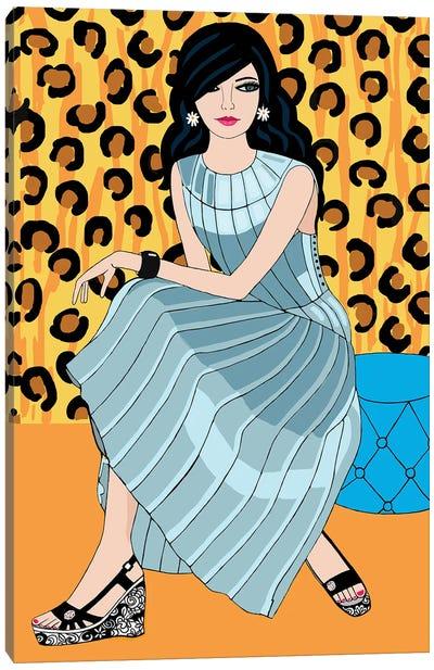 Woman In Bottega Veneta Dress Canvas Art Print