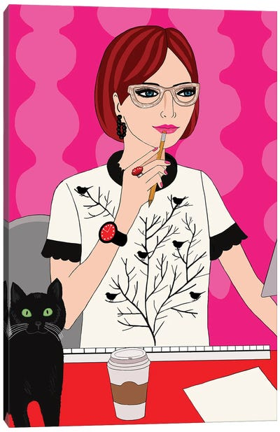 Woman With Cat Canvas Art Print