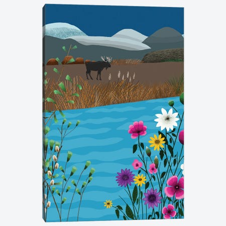 Landscape With Moose And Flowers Canvas Print #BTM20} by Jackie Besteman Canvas Art