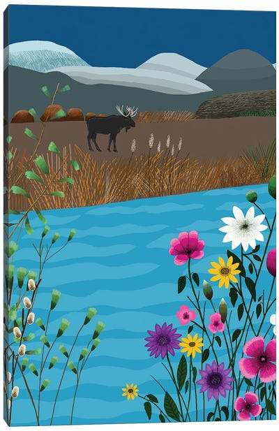 Landscape With Moose And Flowers Canvas Art Print
