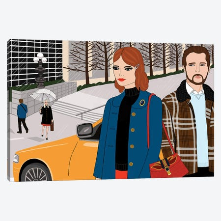 Couple With Yellow Taxi Canvas Print #BTM21} by Jackie Besteman Canvas Art