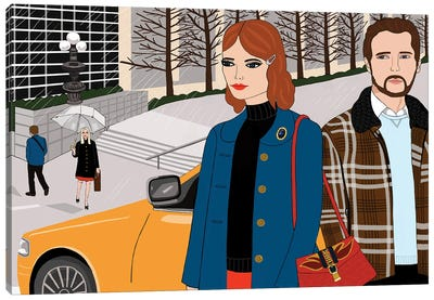 Couple With Yellow Taxi Canvas Art Print