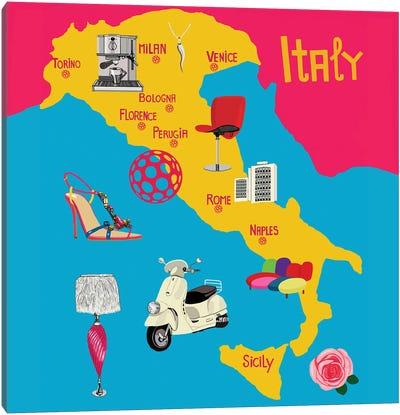 Modern Italy Map Canvas Art Print