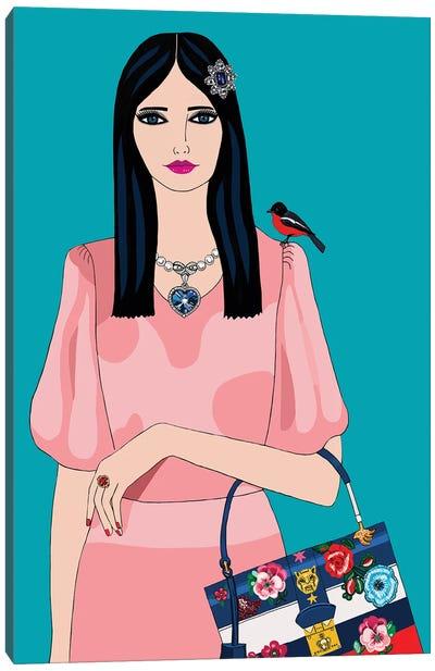 Woman In Miu Miu Dress And Gucci Bag Canvas Art Print