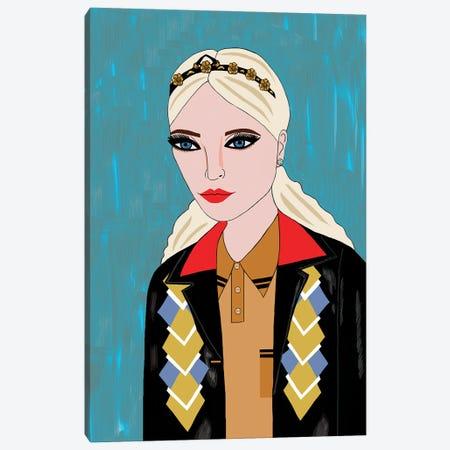 Woman In Miu Miu Argyle Jacket Canvas Print #BTM24} by Jackie Besteman Canvas Print
