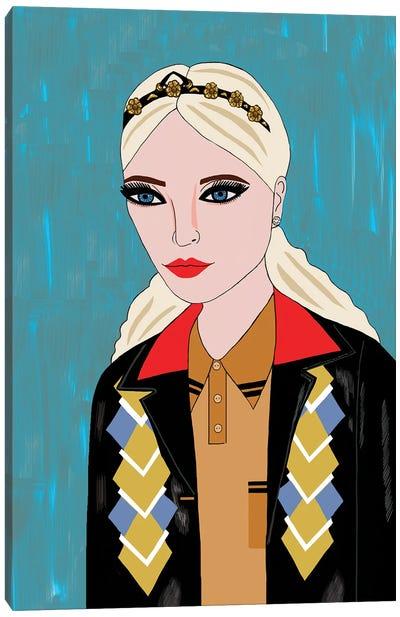 Woman In Miu Miu Argyle Jacket Canvas Art Print