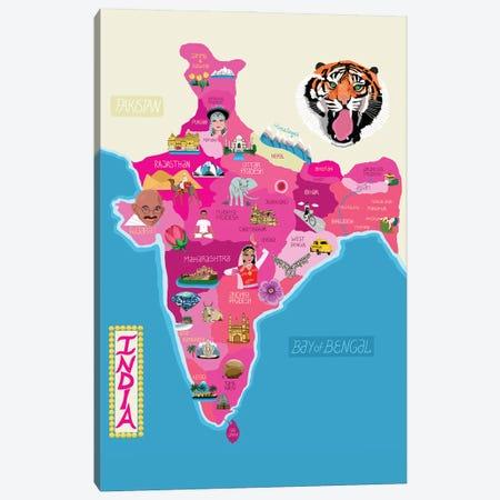 Map Of India Canvas Print #BTM26} by Jackie Besteman Canvas Art Print