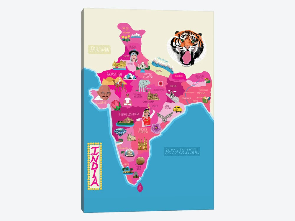 Map Of India by Jackie Besteman 1-piece Canvas Art Print