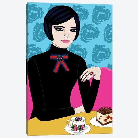 Woman In Cafe With Coffee And Cake Canvas Print #BTM27} by Jackie Besteman Art Print