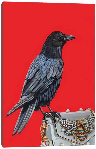 Crow On Gucci Purse Canvas Art Print