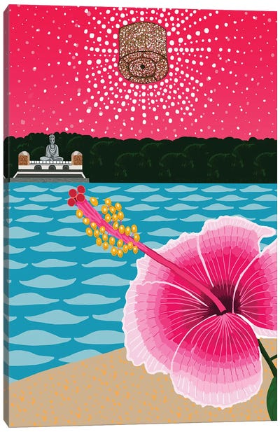 Landscape With Flower And Buddha Canvas Art Print