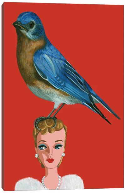 Mountain Bluebird On Vintage Barbie Doll Canvas Art Print
