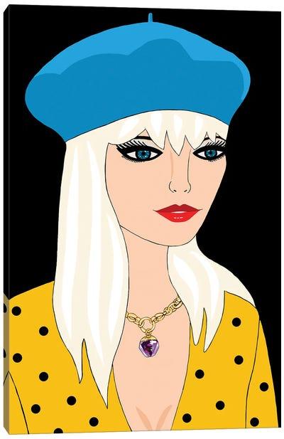Blonde With Blue Beret Canvas Art Print
