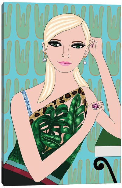 Blonde In Jungle Versace Top Canvas Art Print