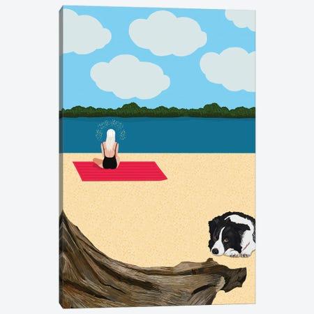 Woman Meditating On The Beach With Dog Canvas Print #BTM38} by Jackie Besteman Art Print