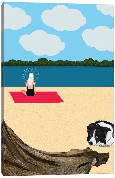 Woman Meditating On The Beach With Dog Canvas Art Print