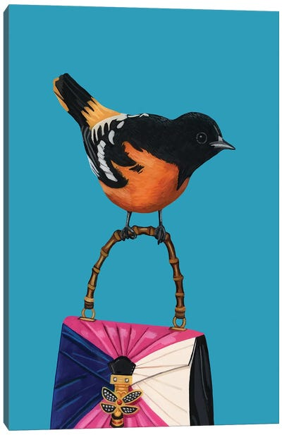 Baltimore Oriolke Bird On Gucci Purse Canvas Art Print
