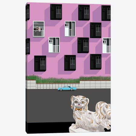 Ceramic Dog And Streetscene Canvas Print #BTM40} by Jackie Besteman Canvas Art