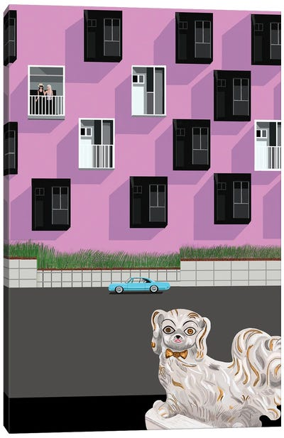 Ceramic Dog And Streetscene Canvas Art Print