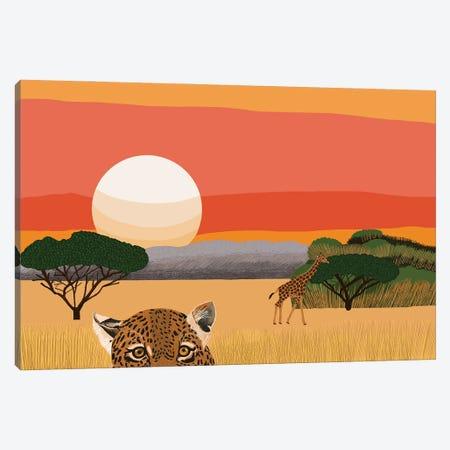 African Landscape With Leopard And Giraffe Canvas Print #BTM42} by Jackie Besteman Canvas Art