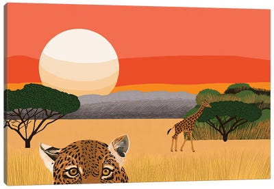 African Landscape With Leopard And Giraffe Canvas Art Print