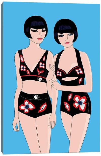 Twin Bathers Canvas Art Print