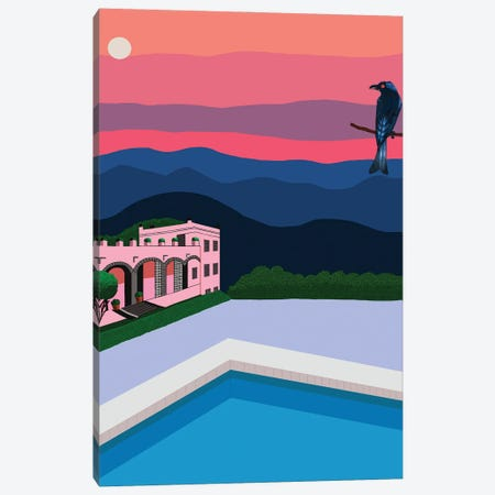 Sunset With Swimming Pool And Bird Canvas Print #BTM7} by Jackie Besteman Canvas Artwork