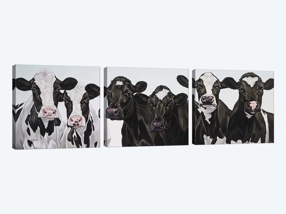 Herd Of Cows by Clara Bastian 3-piece Canvas Print