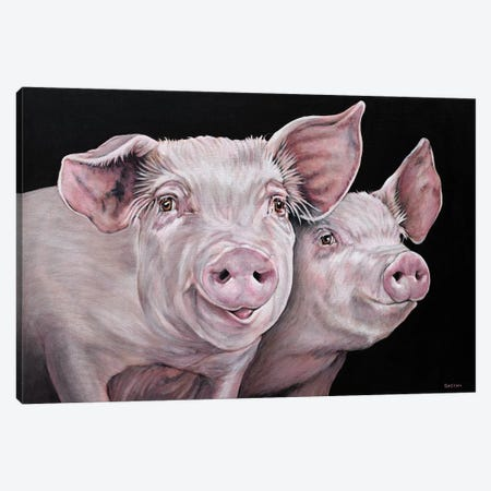 Pirky And Porky Canvas Print #BTN33} by Clara Bastian Canvas Art