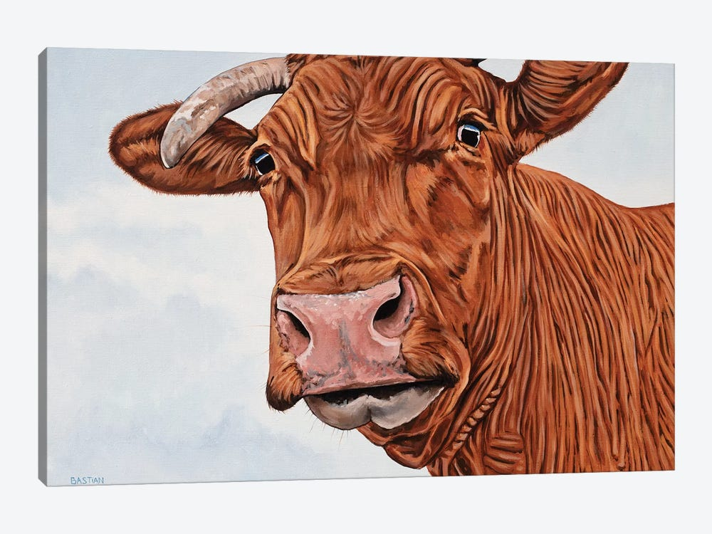 Red Cow by Clara Bastian 1-piece Canvas Art Print