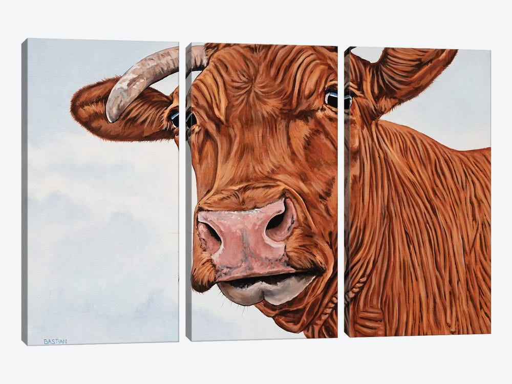 Red Cow by Clara Bastian 3-piece Canvas Print